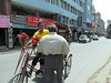 Riding a bicycle rickshaw taxi back to our hotel, Kathmandu, Nepal, 5/18/2012