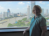 Shirley and view from our Millennium Hilton hotel room in Bangkok, Thailand, 8/16/2012