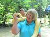 Shirley and python, Deer Park Zoo, Malaysia, 8/22/2012
