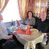 Our 1st meal (lunch) on the train - 1st class dining car.  Chicken dish.  Shirley, Sandy, Gary, 1/15/2013