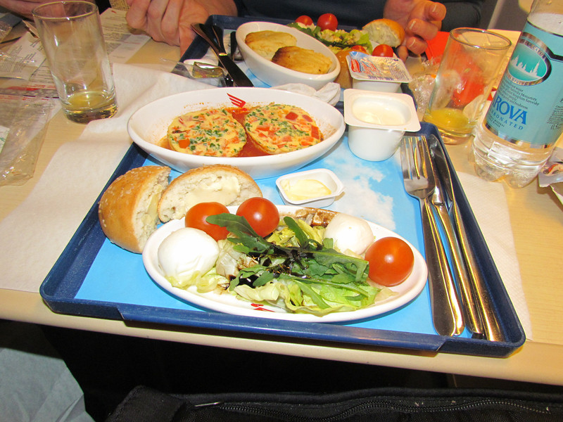 1st class train, from Moscow to St Petersburg. The ticket included breakfast – salad, omelet,  yogurt and muffin. 1/30/2013