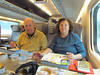 Sandy and Gary having lunch on our 3 hr train ride from St Petersburg, Russia to Helsinki, Finland 2/4/2013