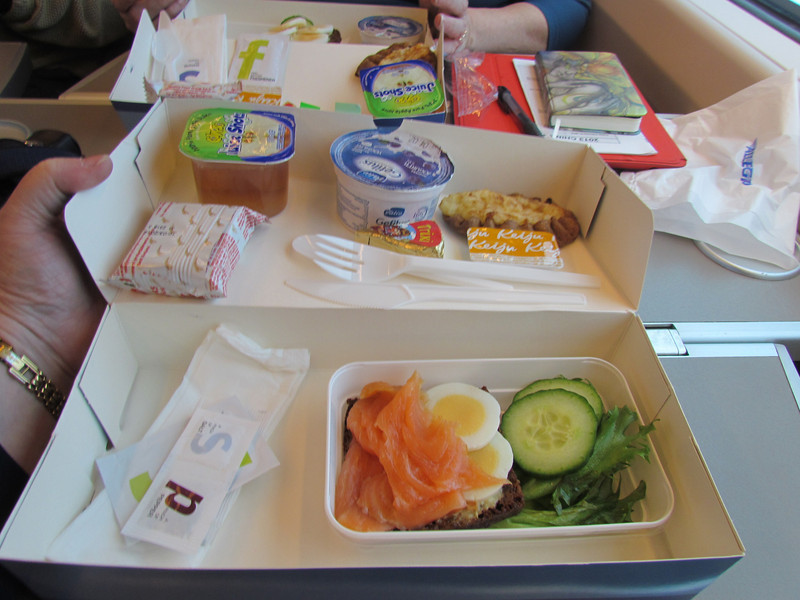 Lunch on our 3 hr train ride from St Petersburg, Russia to Helsinki, Finland 2/4/2013