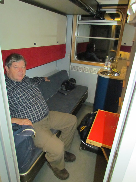 After our ferry arrived in Stockholm, Sandy and Gary left to fly home and we got on a train with a small cabin in the sleeper car, 2/9/2013