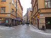 Stockholm Old Town, Gamla Stan, with winding narrow streets, shops and cafes, 2/15/2013