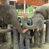 Ken getting a sloppy kiss, Maesa Elephant Camp, Thailand, 10/11/2013