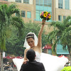 Bride and groom getting pictures taken. Saigon, Viet Nam, 11/1/2013