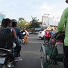 Dodging traffic in an intersection.  We just went and people slowed down! Phnom Penh, Cambodia, 11/4/2013