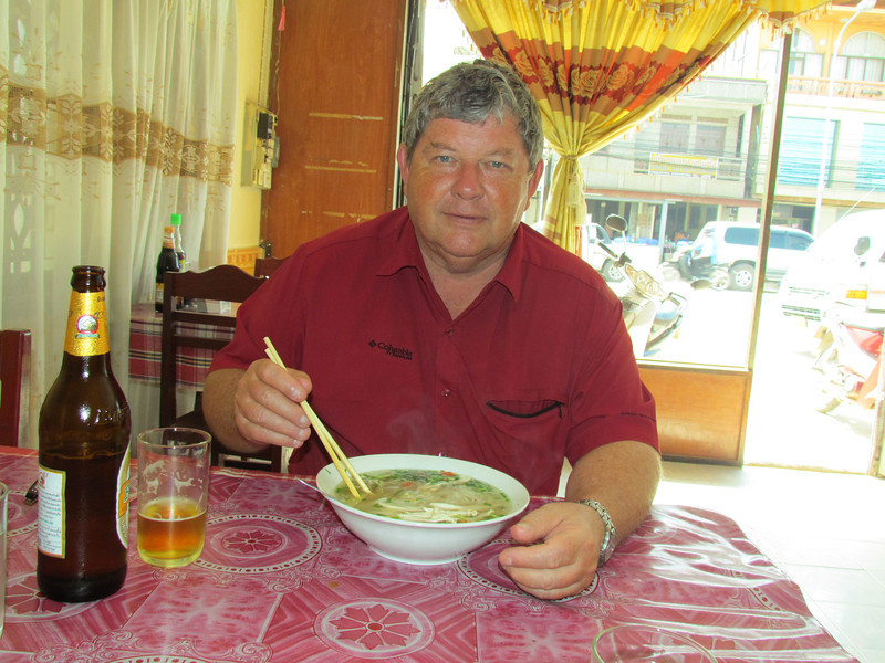 17th flight of trip from Vientiane, Lao to XiengKhouang, Lao and had lunch - Ken had chicken with rice noodles soup for $2. 11/11/2013