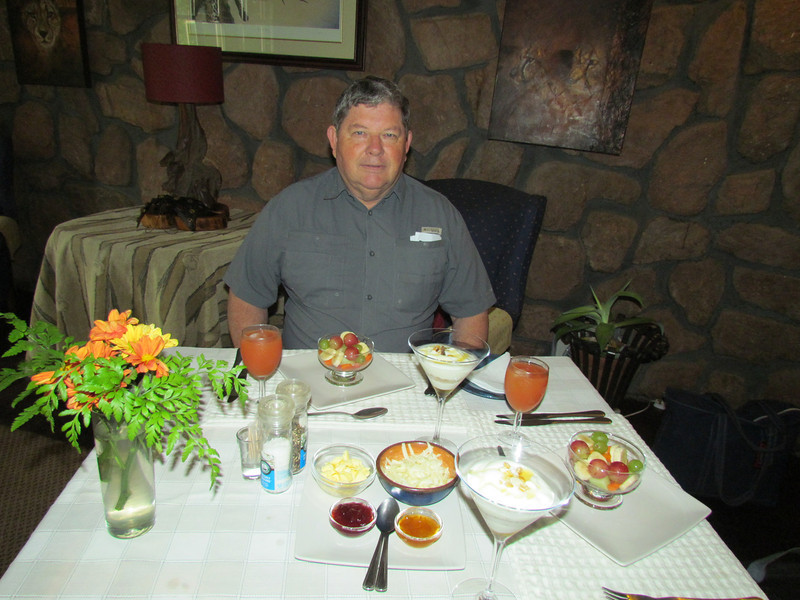 Breakfast at DeWildt Cheetah Lodge, northwest of Johannesburg, South Africa, 3/9/2014
