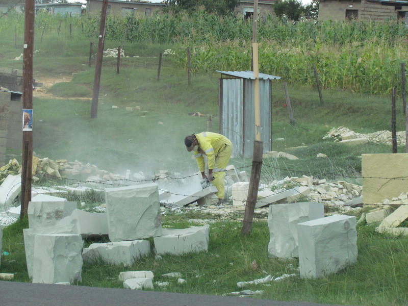 Stone cutting business along the road in Lesotho, 3/12/2014