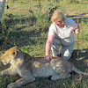 Shirley petting a 14 mo. old lion! Lion Encounter!  They have a program to reintroduce lions into the wild. Livingston, Zambia, 4/6/2014