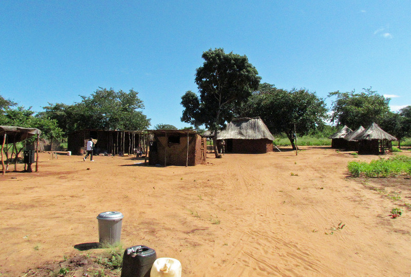 Village of Sindie. This kind of village is very typical and the way many people live outside the large cities in Zambia and many other African countries. Near Livingston, Zambia, 4/6/2014