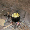 Corn cooking in hut for cooking for this family, Sindie, Near Livingston, Zambia, 4/6/2014