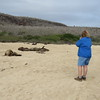 Shirley and Sea Lions, Santa Fe Island, Galapagos Islands, Ecuador, 9/12/2017