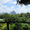 View of twin Peaks from our balcony, Hotel Crystals, Soufriere, St Lucia, 3/13/2018