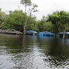 Half flooded buildings this time of year. Castanho Waterfall Village where we got our boat, Amazon area of Brazil, 2/24/2018