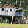 These homes flood part of the year so they either float or the people move to a houseboat. Castanho Waterfall Village, Amazon area of Brazil, 2/24/2018