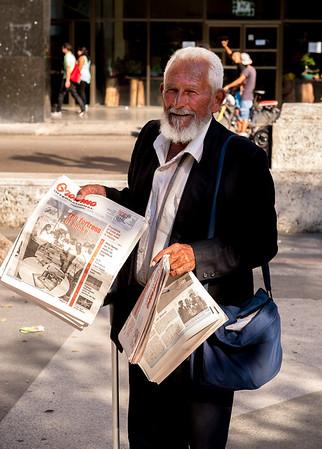 A Granma International Edition Newspaper Vendor