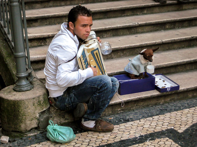 Street Accordionist with Begging Dog