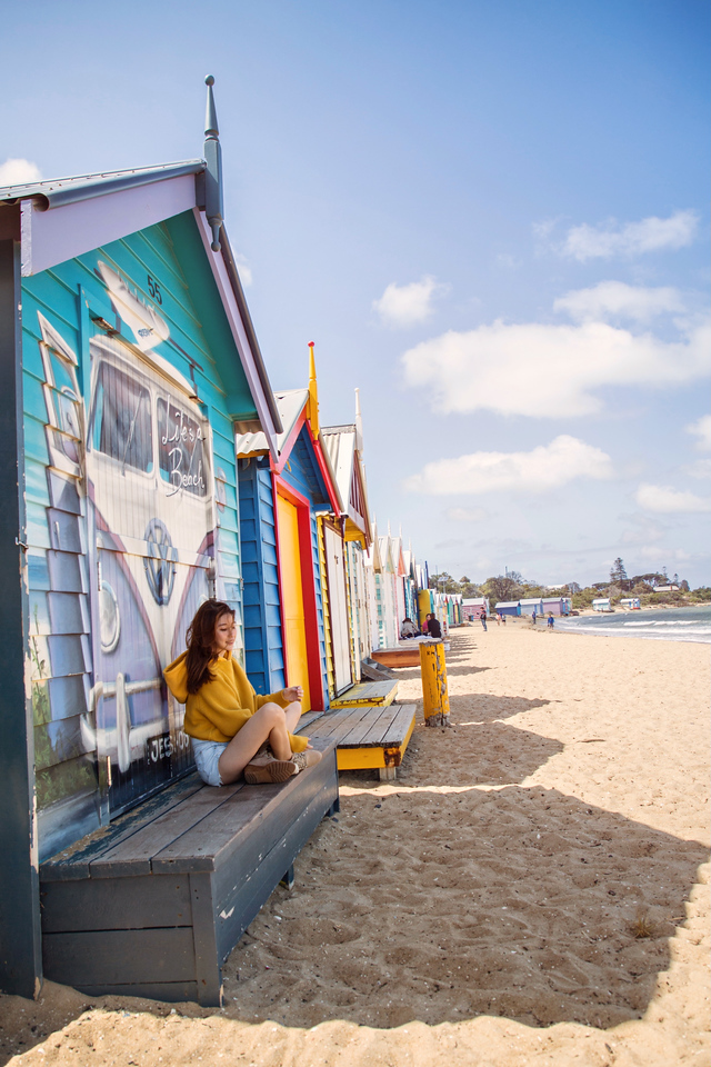 Renzze, Brighton Bathing Huts, Melbourne, Australia, yellow