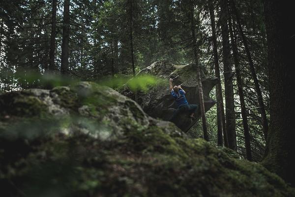 Climber in the Magic Wood in Switzerland.