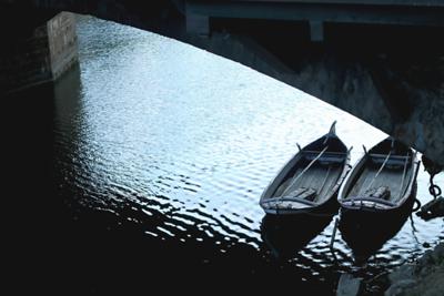 """2 Canoes Under the Pontevecchio Bridge"", Florence, Italy"
