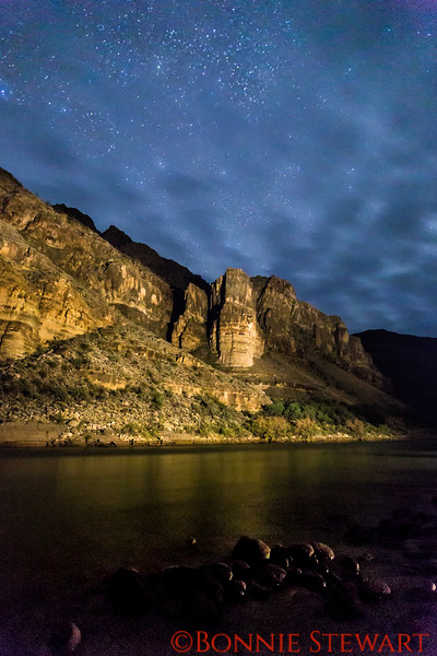 Night One:  We had only two nights of night photography on the river.  The first night was stormy but then cleared somewhat - not enough to see the Milky Way so we did light painting of the Grand Canyon walls.