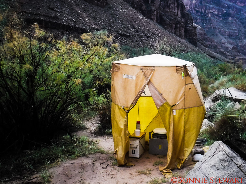 Camping along the Colorado River in the Grand Canyon requires everyone to take out what they brought in!   The crew of the Wester River Expeditions provided our facility