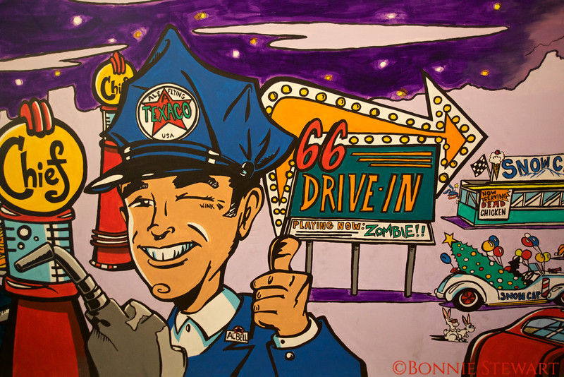 Cartoon Drawings of Historic Route 66 Sites in the Route 66 Museum