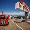 """Famous"" El Trovatore Motel - typical of the motels along the old Route 66.  This one boasts the Largest map of Route 66."