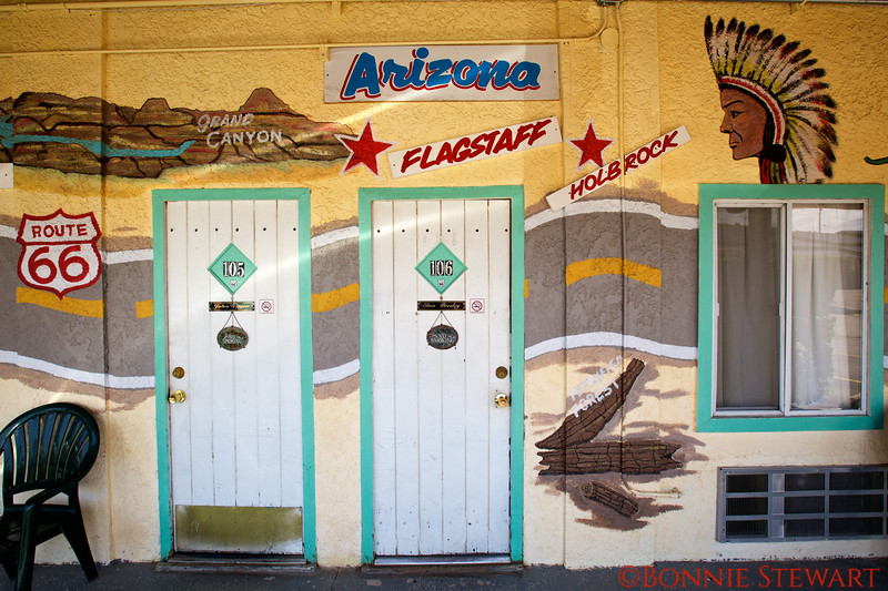 Doors and part of the map on the El Trovavtore Motel in Kingman