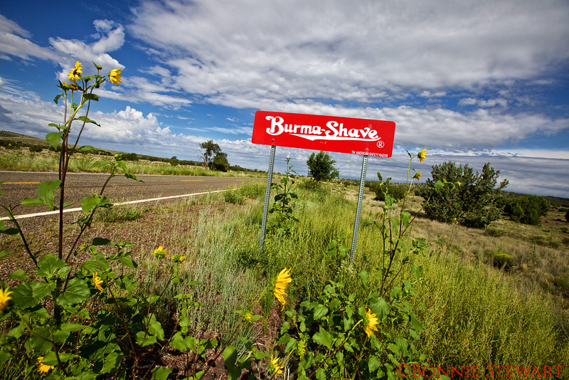 Route 66 and a  Burma-Shave sign