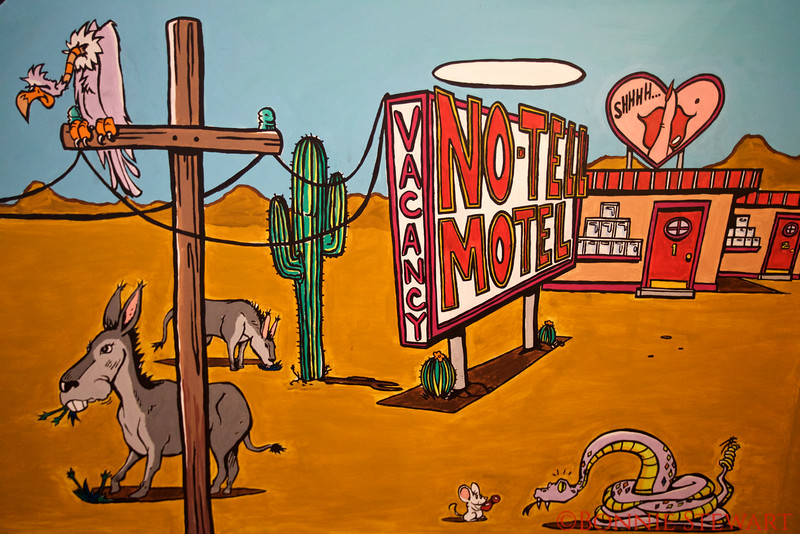 Cartoon Drawings depicting life along Route 66 in the  Route 66 Museum