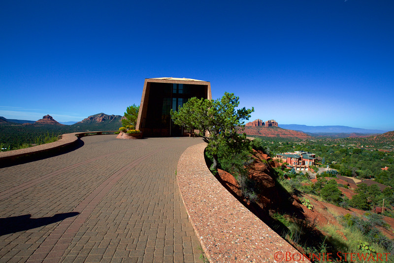 Approach to the Holy Cross Church with Sedona in the background