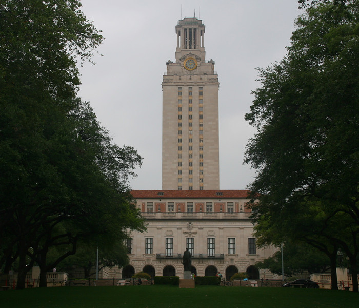 The University of Texas is huge, more than 50,000 students. The UT Tower is the most famous landmark.