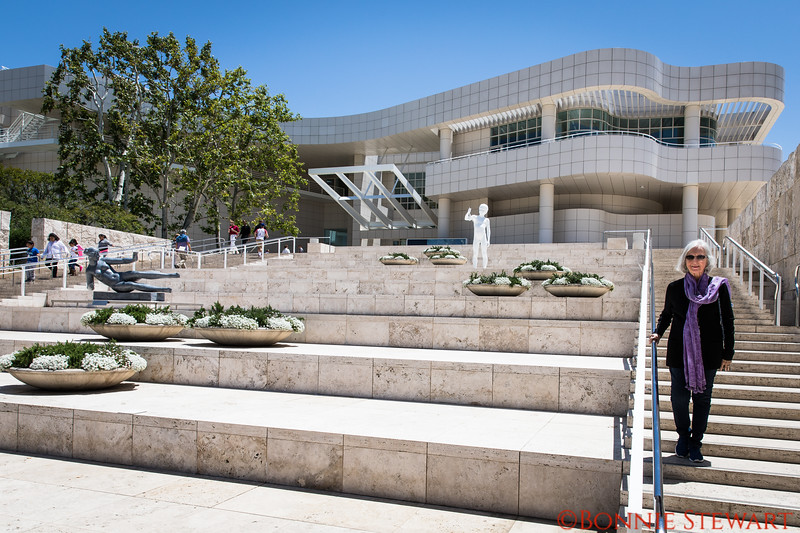 Francie Lyons leaving the Getty Center