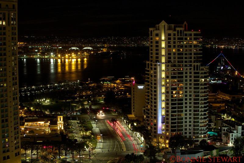 San Diego at night looking towards Point Loma