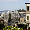 View of Coit Tower from Lombard Street - the crooked street