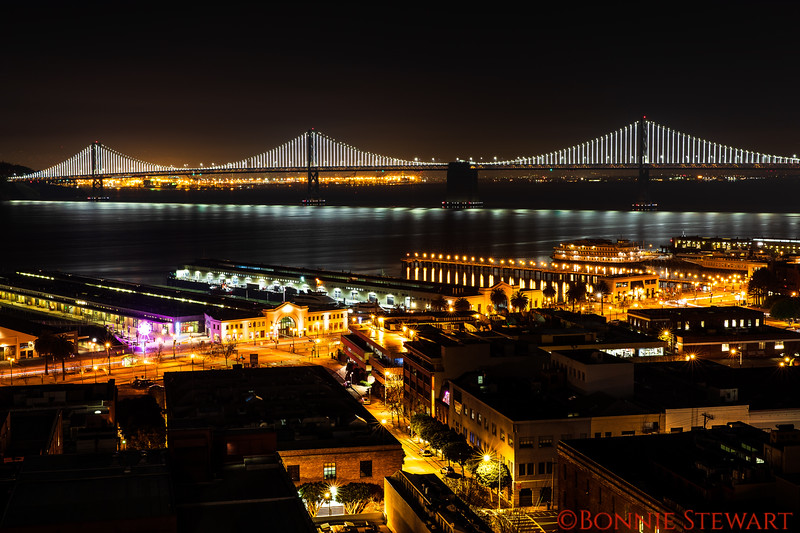 Bay Bridge with new Lights with the Ferry Building in the foreground