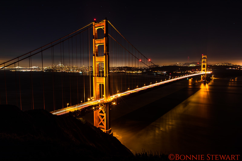 Golden Gate Bridge and the Bay Bridge in the Background
