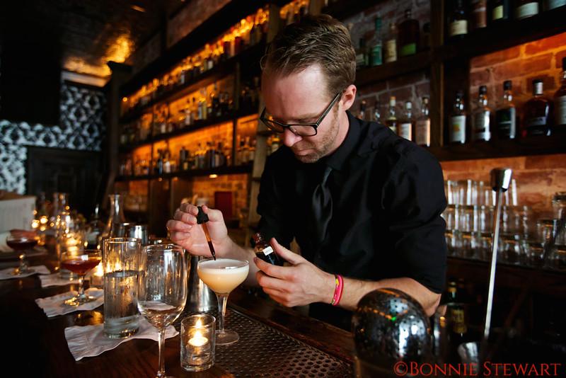 Wilson and Wilson Bartender Making one of the Historic Speakeasy Drinks