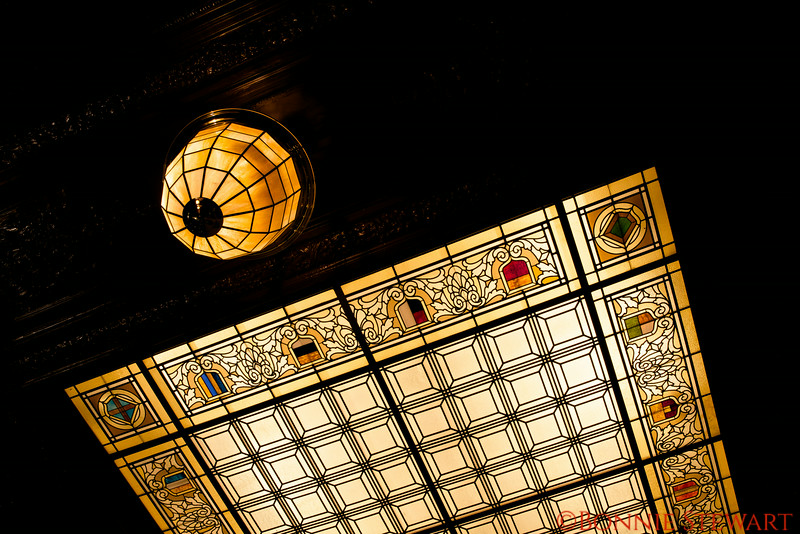 Stained Glass ceiling of the Pied Piper Restaurant in the Palace Hotel
