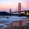 View of the Golden Gate Bridge at Twilight from Marshall's Beach