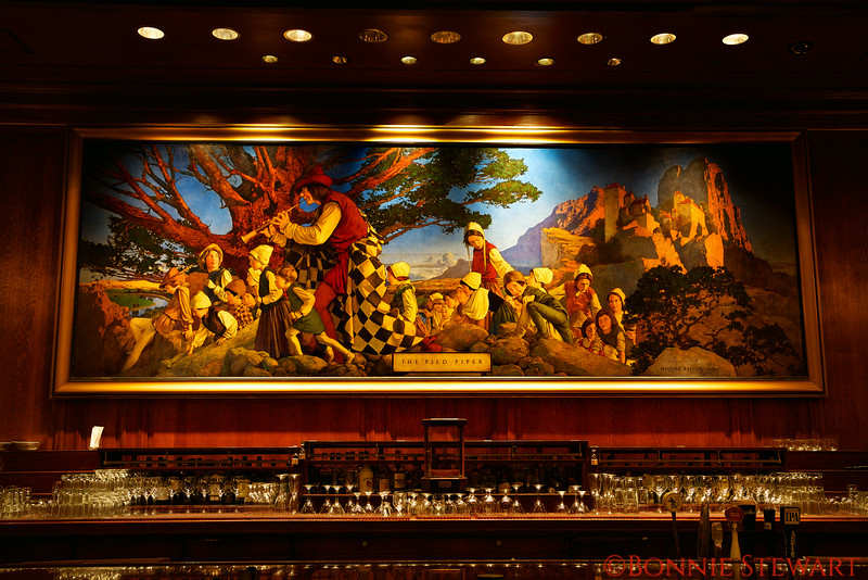 Painting of the Pied Piper by Maxwell Parrish in 1909 that hangs inside the Pied Piper Bar and Grill, Palace Hotel