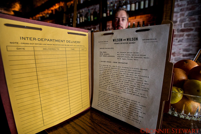 The Wilson and Wilson Private Detective Agency File of Ms. Lorraine Wilson - the Drink Menu is in the back of the File