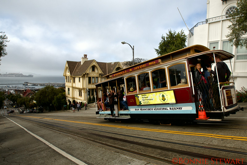 Cable Car with Alcatraz in the Distance