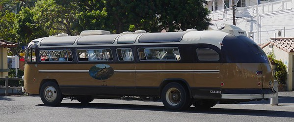 There are very few cars in Avalon. Not sure what this old bus is doing there.