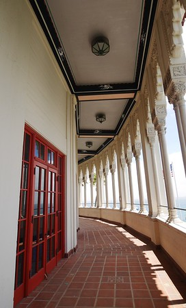 A walkway surrounds the ballroom.