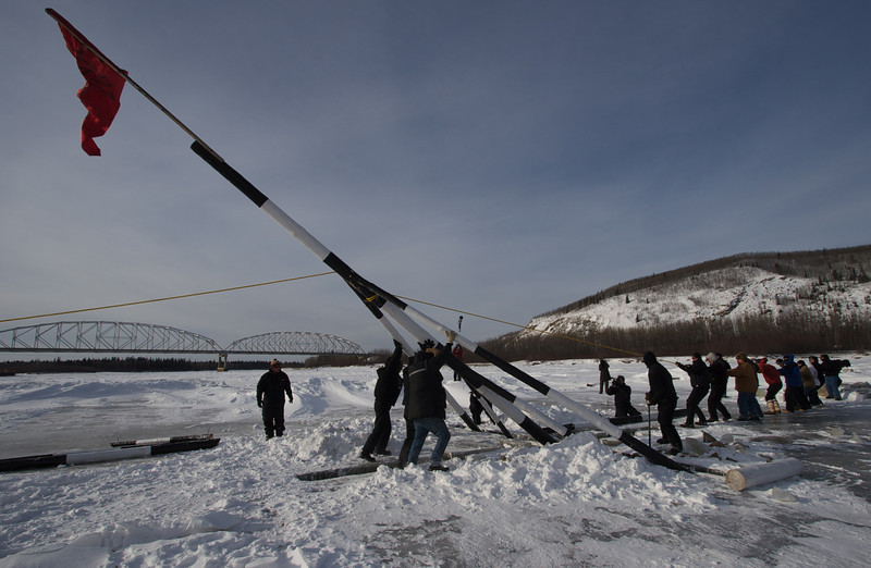 Placing the tripod at the Nenana Ice Classic